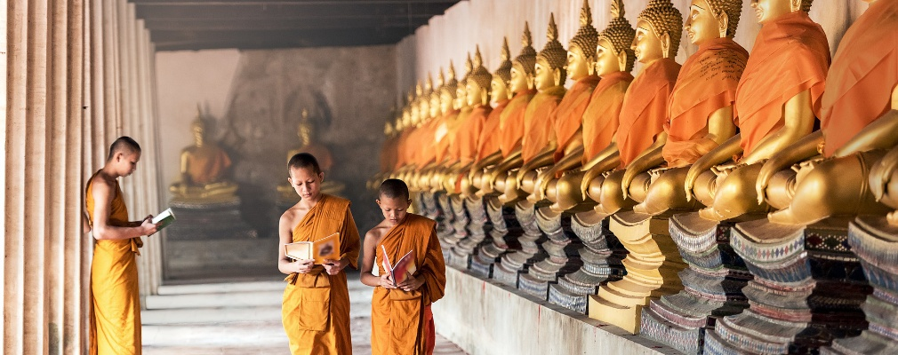 Monniken in Angkor Wat, Kambodscha