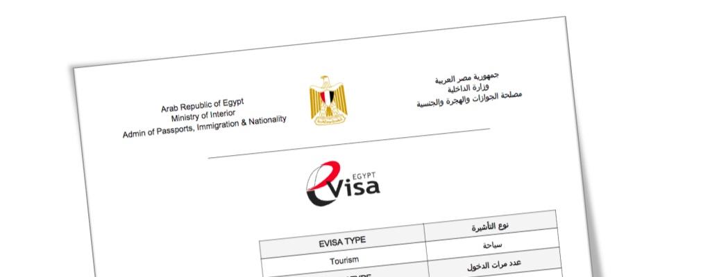 Muster ausgedrucktes e-Visum Ägypten