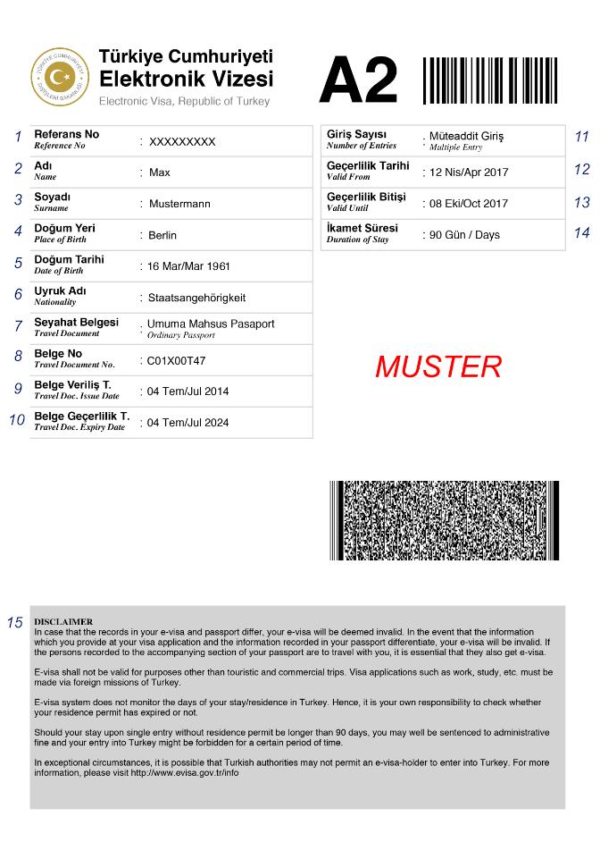 PDF Muster Visum Türkei