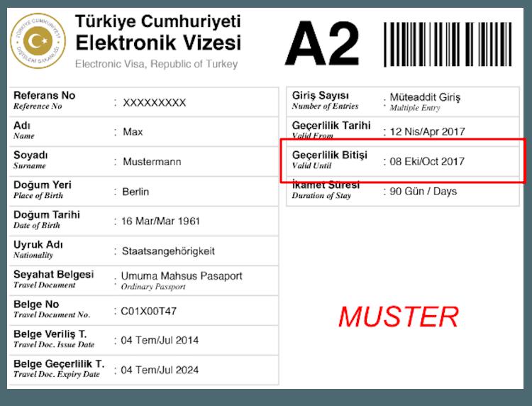 Gültigkeit des Visums Türkei kontrollieren